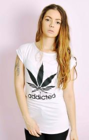 Addicted Cannabis Adidas Spoof T-shirt